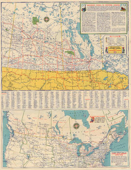 Road map of Saskatchewan and Manitoba, highway map of southern Canada and the northern United Sta...