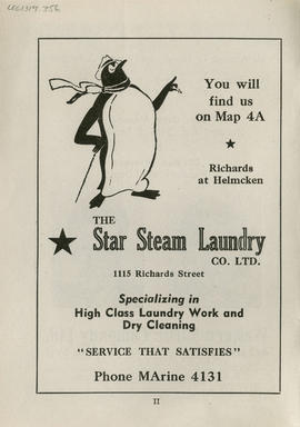 Sectional map and street directory of Vancouver, British Columbia : Star Steam Laundry Co. Limite...