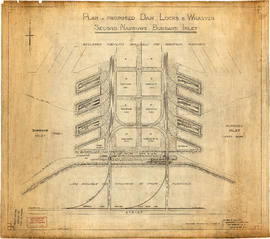 Plan of proposed dam, locks and wharves. Second Narrows, Burrard Inlet