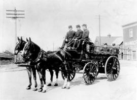 [Horse drawn hose wagon from Fire Hall No. 4 at Broadway and Granville Street]