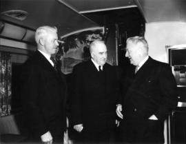 "[Ralph C. Pybus, Major J.S. Matthews and Mayor Harrison (Victoria) during the launch of ""The..."