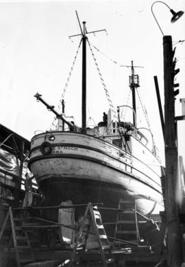 "[The ""St. Roch"" in dry dock at Coal Harbour Shipyard for painting]"