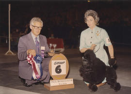 Group six [Non-Sporting Group: Miniature Poodle] award being presented at 1973 P.N.E. All-Breed D...