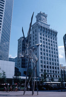 [View of  Untitled (Silver Bird) sculpture at the corner of Granville and Georgia]