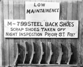 Low maintenance. M-799 steel back shoes. Scrap shoes taken off night inspection Prior St. Feb'y.