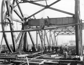 [Bridge workers on the second Granville Bridge during construction]
