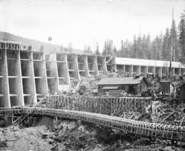 [Partially constructed Jordan River Power Plant, showing downstream side of Amburson type concret...
