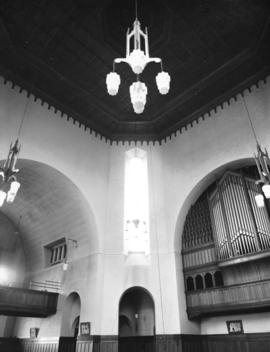 [Ceiling, chandeliers, organ], St. James' Church [303 East Cordova Street]