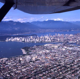 Aerial view of Vancouver : looking north east showing Cornwall Street, Fourth Avenue and Broadway...