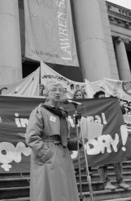 International Women's Day [Margaret Mitchell speaking on Vancouver Art Gallery steps]