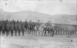 [Field Marshal H.R.H. The Duke of Connaught and Lieutenant Colonel Milne inspecting the 158th Ove...