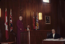 Visit of Bishop of Canterbury, Bishop Roblies [and Mayor Rathie at City Hall]