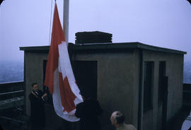 City Hall; New Flag Being Hoisted.