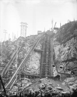 [Construction of penstocks at rear of power house of Buntzen Lake Power Plant number two]