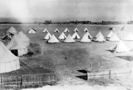 [The first camp of No. 11 (A.C.) Squadron, Royal Canadian Air Force at Sea Island Airport]