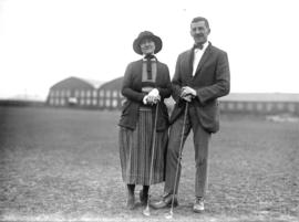 [Mrs. A.C. Eddy and R.P. Baker at the Jericho Country Club golf course]