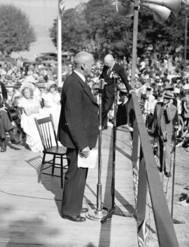 [R. Rowe Holland, chairman of the Board of Park Commissioners addressing the crowd at the rededic...