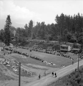 [View from above of a sporting event on Bowen Island]