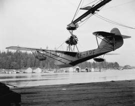 "Boeing Aircraft Co. of Canada, ""Totem"" flying boat CF-ARF on hoist"