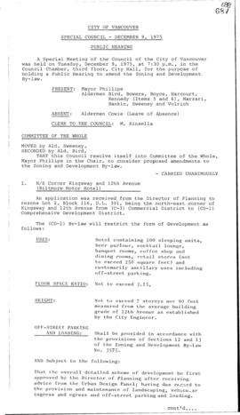 Special Council Meeting Minutes : Dec. 9, 1975