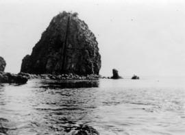 [View of rock formation in Avalon Harbor at Santa Catalina Island]