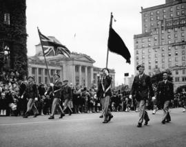 War veterans marching in 1948 P.N.E. Opening Day Parade
