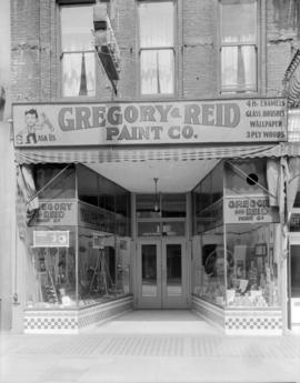 Window display - Gregory and Reid Paint Company Store [at 11 West Hastings Street]