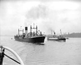 "Freighter ""Ixion"" and C.P.R.'s ""Princess Mary"" leaving harbour"