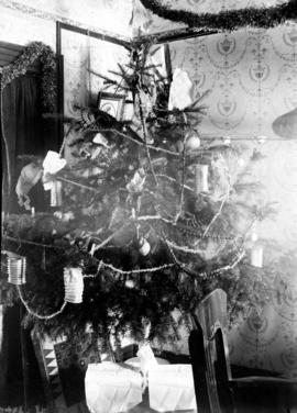Interior of urban house with decorated Christmas tree