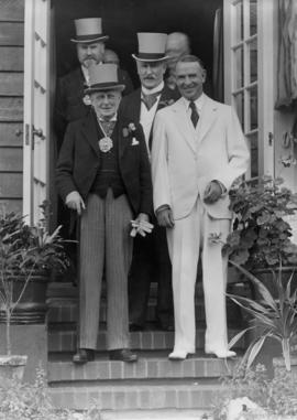 Sir Percy Vincent and Mayor McGeer at his Belmont Avenue home, August 19th, 1936