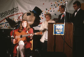 Megan Metcalfe performing on stage at Vancouver's 99th birthday celebration at the Vancouver...