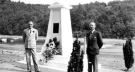 [A.E. Vosper, Bowen Park Superintendent, and Gerald A. Rushton, Traffic Manager, at Bowen Island&...