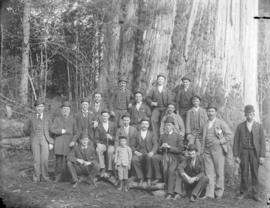 [Group of men and boys assembled in front of large tree in Stanley Park]