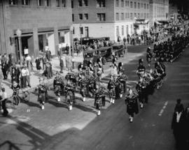 Parade and reception for Lt. Col. R.M. Blair, Commanding Officer 72nd Seaforth Highlanders, upon ...