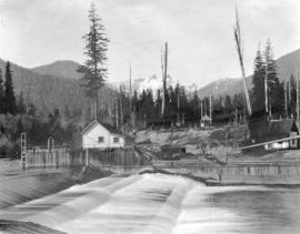 [Vancouver Water Works dam and buildings on Capilano Creek]