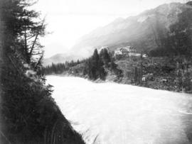 Bow River Rapids, C.P.R. Hotel and Sulphur Mountains, Banff