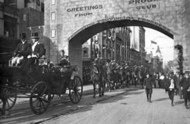 [The Duke and Duchess of Connaught having passed through the Progress Club's Arch at Granvil...
