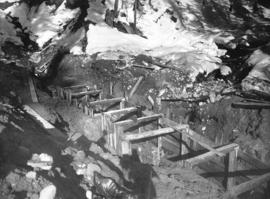 Coquitlam Dam [showing] entrance cut to sluice tunnel