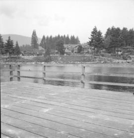 [View of the Bowen Island Inn taken from a wharf across the water]