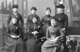 [A group of young pioneer women]