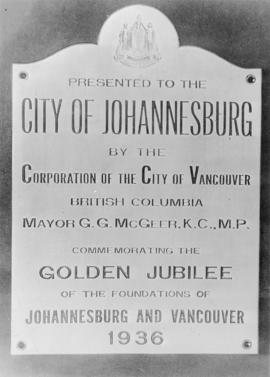 Golden Jubilee plaque for flagpole, City of Johannesburg