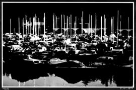 Masts [graphic illustration of small boats, moored at a marina]