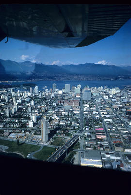 Aerial view of Vancouver showing west side of the city and the West End peninsula