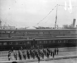 [Band at C.P.R. station and wharf for arrival of Duke and Duchess of Cornwall and York]