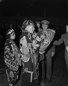 [Chief William Scow making a speech during a ceremony to confer an honourary chieftainship on Lor...