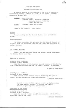 Council Meeting Minutes : Oct. 22, 1974