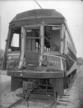 B.C. Electric Railway Interurban [car No. 1219 after] collision with truck carrying canned salmon