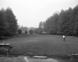 [Man playing golf at Shaughnessy Golf Links]