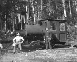 "[""Old Curly"" former C.P.R. construction locomotive in use for logging]"