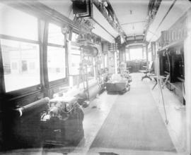 [Interior view of B.C. Electric instructional streetcar S-76, showing equipment]